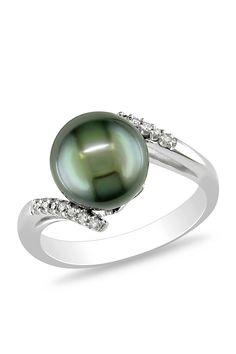 Black Tahitian Pearl & Diamond Bypass Ring