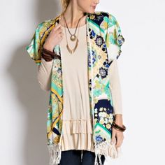 """☀️SALE☀️Versace Print Kimono Beautiful Versace print kimono to style your jeans, pants or short. Lightweight complete with open front and a crochet tassel trim finish on the hem. Made of polyester. Length of kimono is 29""""   PRICE FIRM - NO TRADES Bchic Tops"""