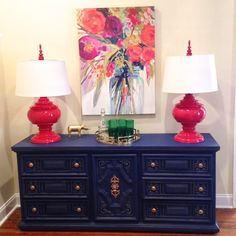 Vibrant colors from Colordrunk Designs Hand Painted Chairs, Painted Furniture, Navy Furniture, Diy Furniture Projects, Furniture Makeover, Navy Living Rooms, Side Table Decor, Mid Century Modern Furniture, Decoration