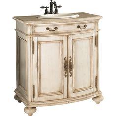 "ESTATE by RSI 29-1/2"" Antiqued White Vintage Bath Vanity with Top  Item #: 50873    Model #: C15530  $419"
