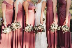 Beautiful shades of chianti offer a soft touch to your bridal party look! | #bridesmaiddresses #bridesmaiddress #chiantibridesmaiddresses | Style F19951, F20064, F20169, F19953, F19419 in Chianti | Shop these styles and more at davidsbridal.com | Photo by: @gingersnaps_dmp Beautiful Bridesmaid Dresses, Bridesmaid Dress Colors, Wedding Dresses, Davids Bridal Bridesmaid, Bridesmaids, Burgundy Wedding, Red Wedding, Rustic Wedding Inspiration, Ginger Snaps