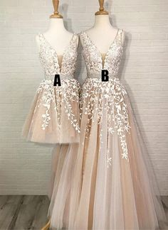Stylish A-Line Deep V Neck Champagne Tulle Long/Short Prom/Homecoming Dresses with Appliques Kleider Abschlusskleider, Partykleider, Modekleider Dama Dresses, Quince Dresses, Prom Dresses 2018, Grad Dresses, 15 Dresses, Quinceanera Dresses, Formal Dresses, Wedding Dresses, Champagne Homecoming Dresses