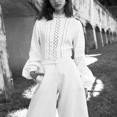 New romantics. @neve_fogg in Matin full sleeve blouse and Anna Quan Glissando wool culottes. Online at basicsdept.com #BASICSinstinct  Styled: @samara_wilson 📸 @sheree__porter