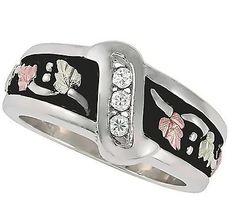 Black Hills Gold 12kt leaves Sterling Silver Antiqued mens CZ Wedding Ring sz 13