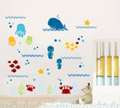 Whale Wall Decal Ocean Fish Decals Reusable by ToodlesDecalStudio