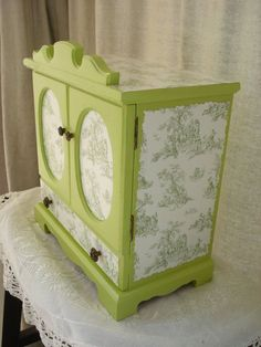 Vintage Upcycled Hand PAinted and Decoupaged Apple Green Toile Jewelry Box Armoire
