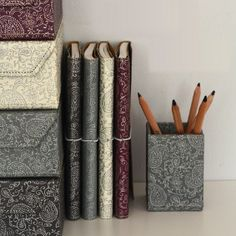 Choose your own mix of our prints and colours to brighten up your workspace or storage area. All our beautiful handmade stationery and storage products are produced in an eco-friendly way, from 100% recycled materials.