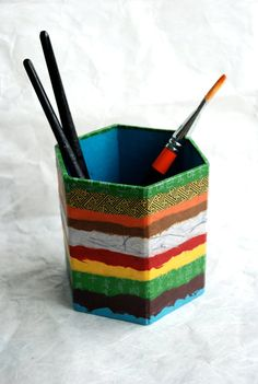 Hanji Horizontal Lines Patchwork Pen Holder Pencil by HanjiNaty