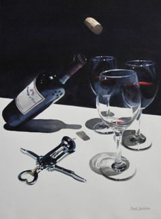 """Menage a Trois"" watercolor by Paul Jackson--Do NOT get the wrong idea. I really like this wine. Paul Jackson, Watercolor Art, Red Wine, The Originals, Gallery, Watercolors, Painting, Lightbox, Objects"