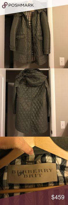 Burberry Coat, XL Authentic Burberry Coat, army green color. Women's XL. Worn less than one season. Excellent condition. $795 new. Detachable hood. I would say not for freezing weather, but warm. Cinched waist that is adjustable. Zip and button closure! Great coat. Just dry cleaned! Burberry Jackets & Coats