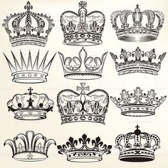 Collection of vector royal crowns for heraldic design royalty free stockvectorbeelden