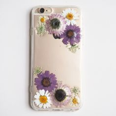 The little purple daisy pressed flower bumper phone case - FREE SHIPPING (紫色のデイジー押し花電話ケース)
