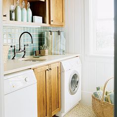 Love the idea of corked bottles for storing laundry detergent and softener.