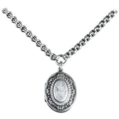 Preowned Antique Victorian Silver Locket And Collar Dated 1884 ($782) ❤ liked on Polyvore featuring jewelry, necklaces, multiple, pendant necklaces, engraved pendant necklace, silver locket, round pendant necklace, victorian pendant necklace and silver antique jewellery