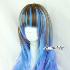 Lolita Long Mixed Color Gradient Anime Hair Cosplay Full Wig Straight Wavy Curly | eBay