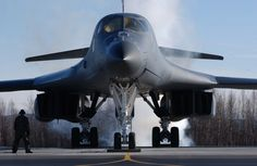 A U.S. Air Force B-1B Lancer aircraft starts its engine during exercise Red Flag-Alaska 07-1 at Ellsworth Air Force Base, S.D., on April 13, 2007. Red Flag-Alaska is a field training exercise for U.S. forces flown under simulated air combat conditions conducted on the Pacific Alaskan Range Complex with air operations flown out of Eielson and Elmendorf Air Force Bases. DoD photo by Airman 1st Class Jonathan Snyder, U.S. Air Force. (Released)