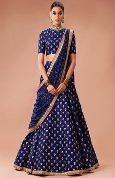 Bhagalpuri+Silk+Lace+Work+Blue+Semi+Stitched+Lehenga+-+Ll2 at Rs 1499