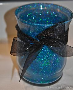 make a glitter vase. Coat inside of vase with Pledge floor cleaner. then put in glitter to cover the floor cleaner, dump out excess. place a clear cup inside to prevent items inside the vase from scratching away the glitter. Glitter Jars, Glitter Crafts, Diy Glitter Glasses, Glitter Projects, Glitter Gel, Silver Glitter, Cute Crafts, Crafts To Do, Arts And Crafts