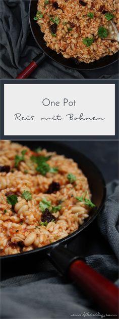 Ein einfaches One Pot Rezept mit Reis und weißen Bohnen. Einfach alles in einen Topf geben und in nur 20 Minuten eine vollwertige Mahlzeit genießen. #vegan #onepot