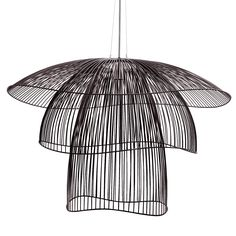 PAPILLON - Suspension fil de fer Noir Ø100cm Forestier
