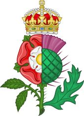 James VI of Scotland and 1st of England Badge showing Union of England and Sotland with Rose of England and Scottish Thistle
