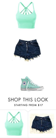 """Outfit #24"" by maddiebvb24 ❤ liked on Polyvore featuring LE3NO and Converse"