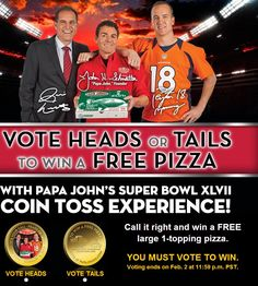 Papa John's Pizza Giveaway  Who is ready for the Super Bowl and a possible FREE pizza!?!?