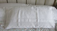 Linen and lace nightdress case.www.ohsovintage.co.uk Baby Crib Bedding, Baby Cribs, Linens And Lace, Handmade Pillows, Lovely Things, Bed Pillows, Pillow Cases, Nursery, Embroidery