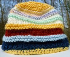 Children's Hat Knitted in Navy Yellow and Pastel by StudioCKH, $15.00