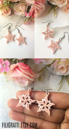If you love handmade jewelry in floral & feminine designs then you should checkout these pastel pink earrings. Click through to take a look at more such flower earrings. Paper Quilling Earrings, Quilling Work, Paper Quilling Patterns, Quilling Paper Craft, Pink Earrings, Flower Earrings, Boho Earrings, Bridesmaid Flowers, Bridesmaid Gifts