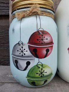 Set of Three Jingle all the Way Jars, Hand Painted Mason Jars, Christmas Mason jars, Jingle All The – Masonjar Mason Jar Projects, Mason Jar Crafts, Diy Projects, Christmas Paintings, Christmas Art, Christmas Drawing, Pot Mason Diy, Pots Mason, Jar Art