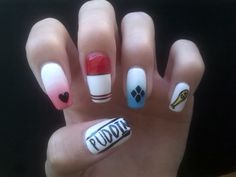 Harley Quinn inspired nail art design ~ ^_^