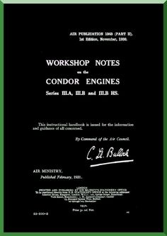 """Rolls Royce """" Condor """" Aircraft Engine Workshop Notes Manual ( English Language ) - Aircraft Reports - Manuals Aircraft Helicopter Engines Propellers Blueprints Publications"""