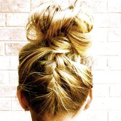 I must learn how to do a french braid on my own. I have an idea...but I need to the BRAIDED UP MESSY BUN