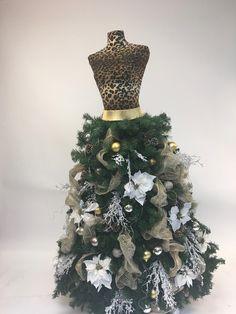 c0fc7c8abf13 Mannequin Madness' Custom Made Dress Form Christmas Tree: Leopard Print w/ Silver &