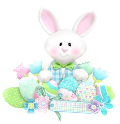 Easter Cute Bunny with Eggs PNG Clipart