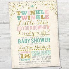Twinkle Twinkle Little Star Baby Shower Invitation by partymonkey                                                                                                                                                                                 More