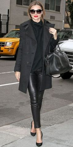 Bree Bright Lips Miranda Kerr Style Look Chic All Black Outfit