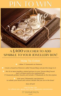 77 Diamonds, Competitions Uk, Jewellery Box, Sell On Etsy, Make And Sell, Book Covers, Diamond Jewelry, Jumper, Crochet Hats