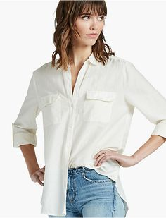 WASHED SILK BUTTON DOWN SHIRT, EGGSHELL