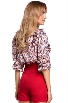 Μπλούζα με print - Ροζ Floral Tops, Glamour, Women, Style, Fashion, Model, Moda, Top Flowers, Fashion Styles