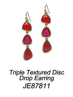 Triple Textured Disc Drop Earring