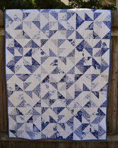 Porch Swing Quilts: Finish it up Friday: Delft Blue Dutch Pinwheels