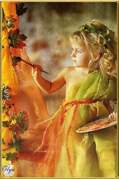Green And Orange, Orange Color, Pop Up Art, Gif Animé, Animated Gif, World Of Color, Images Gif, Beautiful Children, Faeries