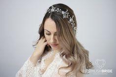 Boda cabello vid cristal con perlas 70 centímetros, vid de pelo de cristal nupcial, boda peluca, pedazo del pelo de cristal, de largo pelo vid