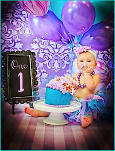 Smash Cake, Purple and Lavender Photography Prop.