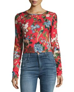Delaina+Long-Sleeve+Crewneck+Crop+Top+by+Alice+++Olivia+at+Neiman+Marcus.