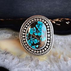 Hubei Turquoise Textured Shield Ring   Size 7 Turquoise, Texture, Beads, Rings, Silver, Gold, Jewelry, Surface Finish, Beading