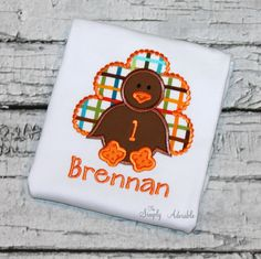 Personalized Turkey Birthday Shirt, Boy's Turkey Birthday Shirt, Thanksgiving Birthday Shirt, Turkey Shirt, Girl's Turkey Birthday, by thesimplyadorable on Etsy https://www.etsy.com/listing/452264266/personalized-turkey-birthday-shirt-boys