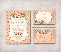 Floral Wedding Invitation Printable, Digital File - Pink and Gold Wedding Invitation - Polka Dots Invitation - pinned by pin4etsy.com